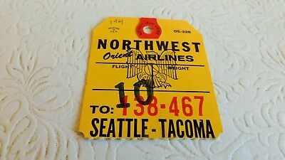 Rare! 1961 Vintage Northwest Orient Airlines Baggage Tag Seattle Tacoma