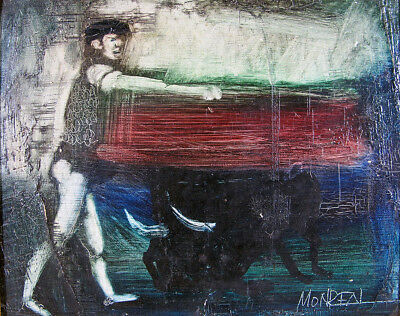 Vintage Andres Monreal ORG Chilean Bullfighting Scene Oil on Canvas Painting yqz