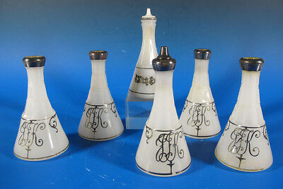 Antique 19th C (6) Silver Overlay Clambroth Glass Barber Bottles Witch Hazel yqz