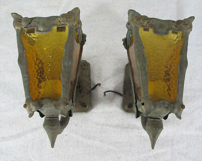 Antique Pair (2) Arts & Crafts Brass Amber Glass Wall Sconces Lights Lamps  yqz