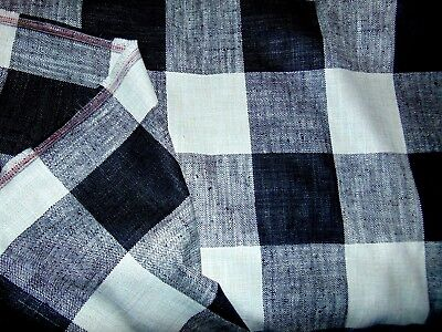 Upscale Black & Off White Checkered Fabric 2 1/3 Yards X 56 Inches