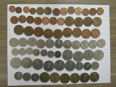 Lot of 73 Different Old Ireland Decimal Coins - 1969 to 2000 - Circulated & Unc.
