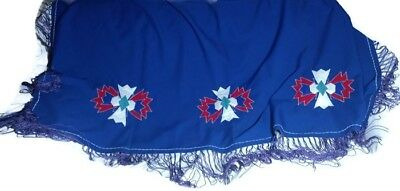 FANCY SHAWL DANCE BLUE Native American Pow Wow Purple Fringe Applique 60x62