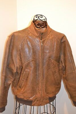 Vintage Distressed Context Leather Flight Bomber Jacket Mens Size M Brown