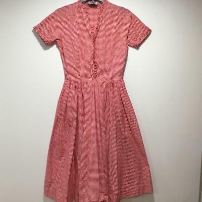 Vintage Red & White Gingham Cotton Dress Full Skirt 1950-1960 by Craig Casuals
