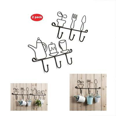 OMMITO Coat Hooks Wall Mounted Rack,11 Inches Iron 3 Kitchen Home Restaurant Set