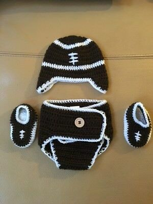 So'dorable Football  3 piece diaper Cover Set 0-6month Crochet Hand Knit