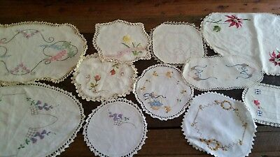 Vintage Lot of 11 hand Embroidered Crochet edged Doilies beautiful