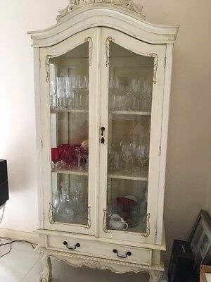 Display Cabinet used , french provincial,solid mahogany, Vintage white