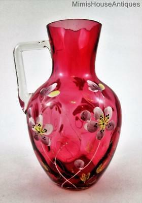 "Antique CRANBERRY ""IVT"" art glass PITCHER  Enamel Flowers, gilding, clear Handle"