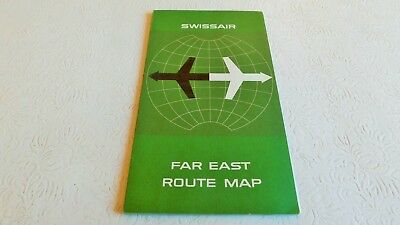 Rare Vintage 1965 Swissair Swiss Airlines Far East Route Map