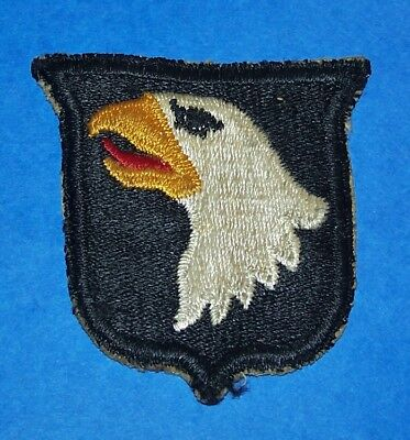SALTY ORIGINAL WW2 101st AIRBORNE DIVISION TYPE 1 PATCH OFF UNIFORM (NO TAB) #2