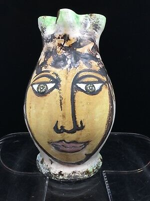 Vintage Hand Thrown Art Pottery Pitcher Woman'S Face Signed '89 Italy