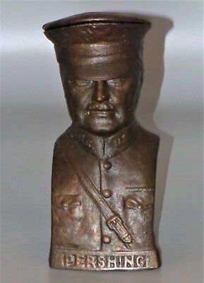 General Pershing US Army Cast Iron Coin Bank
