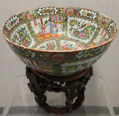"Antiqe Chinese 13.5"" Rose Canton Porcelain Bowl, 1880-1900"