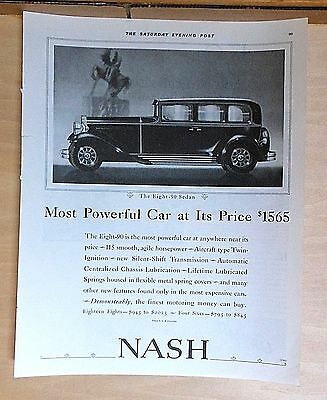 1931 magazine ad for Nash - The Eight-90 Sedan, Most Powerful Car At Its Price