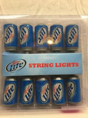 MILLER LITE CAN STRING LIGHTS  man cave, dorm room, garage, tailgate