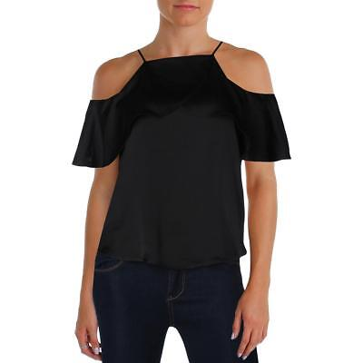 Design Lab Womens Black Cold Shoulder Satin Ruffled Casual Top S BHFO 2220