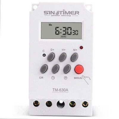 TM630A Digital LCD Programmable Weekly Rail Timer AC 220V 30A Time Relay Switch