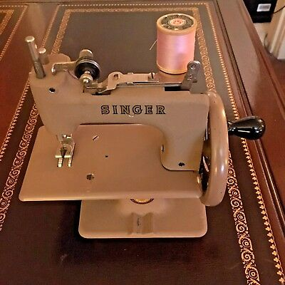 Child's Miniature Singer Sewhandy Sewing Machine No. 20 with Suitcase Carrier