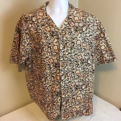 J Crew Mens Hawaiian Shirt Short Sleeve Large 100% Cotton Brown Beige Floral FS!