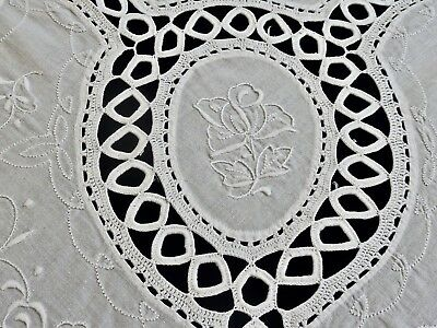 Gorgeous Vintage Hand Crafted White Cotton Tablecloth 170 X 210 Cm.