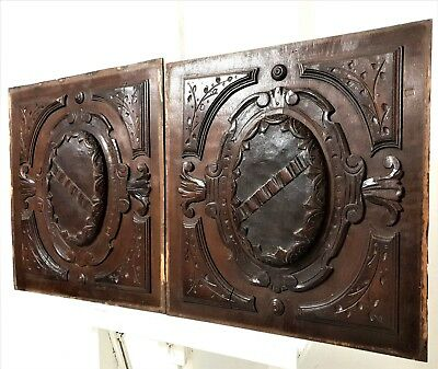 Pair gothic coat of arms panel Antique french carved wood architectural salvage