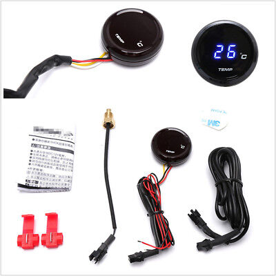 1x Motorcycle Thermometer Water Temp Temperature Blue LED Digital Display Gauge