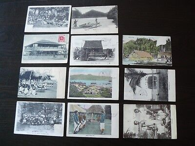 11 x Fiji Postcards - Fijian - postage stamps have been removed
