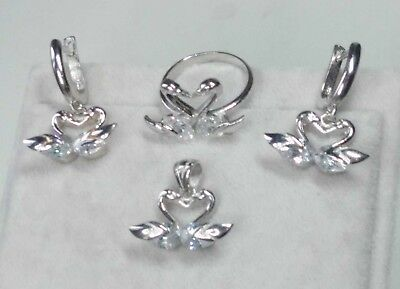 AAA Quality 925 Sterling Silver Jewelry Double Swan White Zircon Full Set