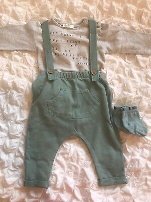 gorgeous pale green and grey outfit from next 3-6 months baby boy