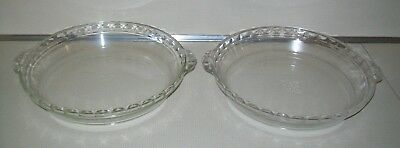 """TWO Pyrex Clear Glass 10"""" Fluted Edge Handled Deep Pie Plate Dish Pan 229"""
