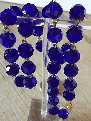 art deco Vintage Style, Sapphire Blue Faceted Glass Crystal bead necklace