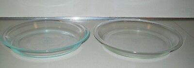 """TWO Pyrex Clear Glass Pie Plate Dish Pans 9"""" No. 209 &  10"""" No. 210"""