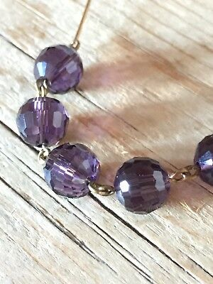 art deco Vintage Style Amethyst Faceted Glass Crystal bead necklace