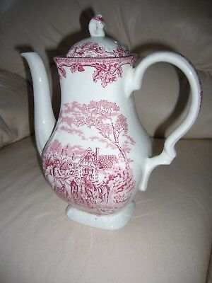 Myott Country Life Coffee Pot Hand Engraved Fine Staffordshire