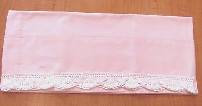 One Vintage  Pink Pillowcase Finished with Hand Crocheted White Edging