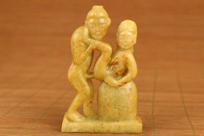 big chinese old jade hand carved ancient  new married statue netsuke collectable