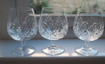 3, large, cut glass crystal brandy glasses/snifters