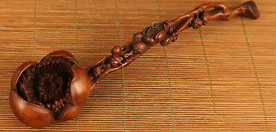 antique big chinese old boxwood hand carved peach blossom statue netsuke