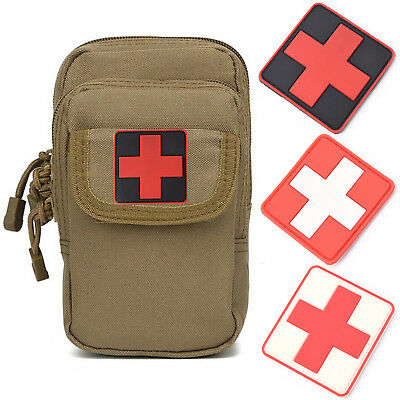 Outdoor Survival First Aid PVC Red Cross Hook Loops Fasteners Badge Patch 6×6cm