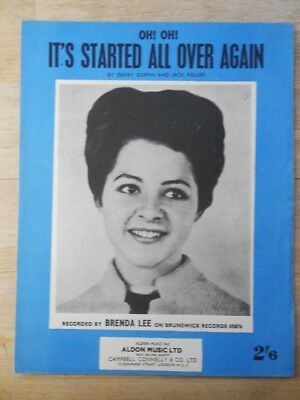 Brenda Lee - It's Started All Over Again sheet music - original vintage
