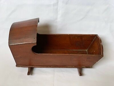 Antique Early 19th Century Hooded & Dovetailed Doll Cradle Folk Art