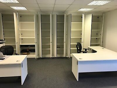 Complete office cupboard system plus 2 desks and chairs white USED