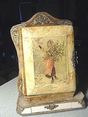 Celluloid Brass Velvet Victorian Cabinet Card Photo Album Stand Mirror Drawer