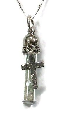 Ancient Roman Glass Pendent Fragments Silver 925 Cross in Glass bottle