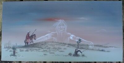 "Jonny Hawk Native American Artist Large Acrylic on Canvas Painting 15"" x 30"""
