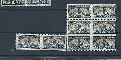 South Africa stamps. 1948 Gold Mine MNH block of 6 & a pair Folded  (C938)