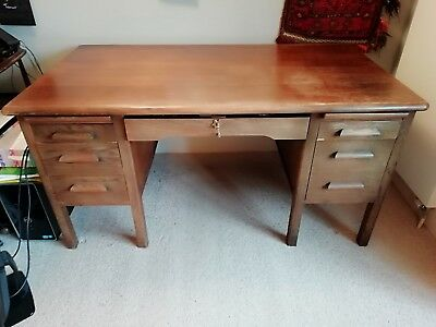 Large vintage oak desk with drawers