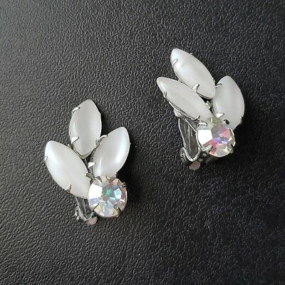 Signed WEISS Vintage Clip Earrings White Frosted Glass AB Crystal Flower M75